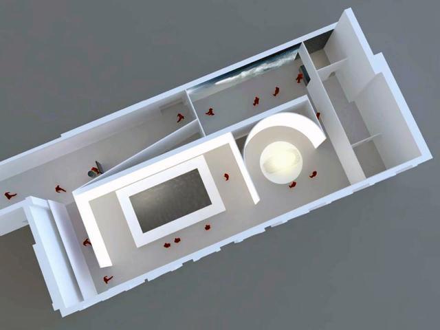 画像: 会場の俯瞰図。手前左側に吉泉氏の作品、右に吉本氏の作品、その上側に阿部氏の作品を展示する。