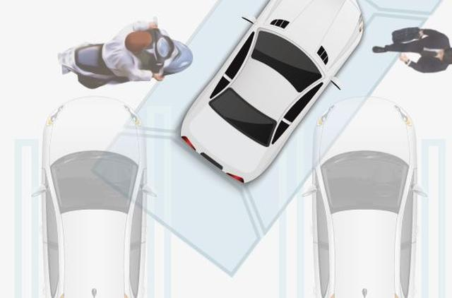 画像: 駐車時のイメージ図。狭い駐車区画への入庫の際も有用です。