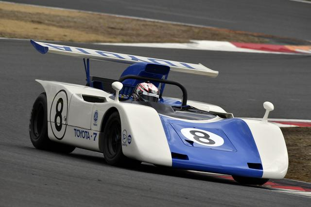 画像: トヨタ7(1969年) 当時のドライバーは川合稔・鮒子田寛ら、本イベントでは大嶋和也