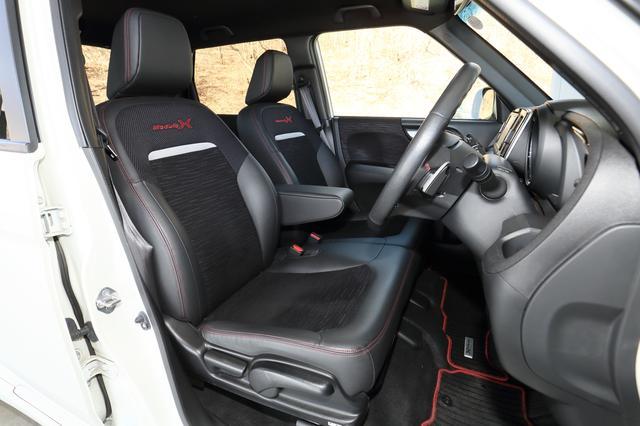 """画像: シートバックに""""Modulo X""""のロゴ入りシートはレザー調のプライムスムースとトリコット生地を組み合わせたスポーティなもの。"""