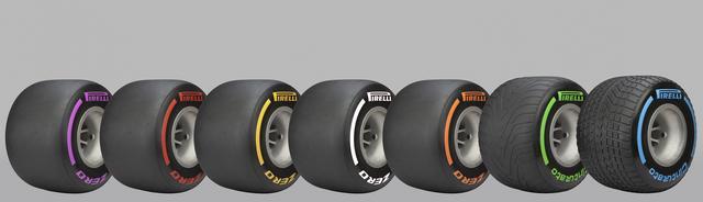画像: このように全7色。右から2本がウエットタイヤで、「Cinturato(チントゥラート)」、左から5本がドライタイヤで「P ZERO(ピーゼロ)名となる。