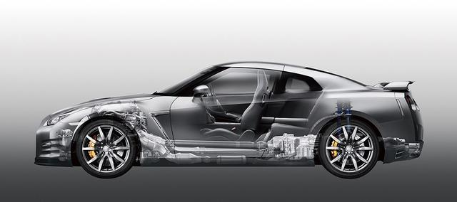 画像: GT-Rに採用されているプレミアム・ミッドシップパッケージ。リアタイヤのグリップ力を増すためにリアアクスルの直前にトランスミッションを配置しており、フロントタイヤのグリップを上げるためにV6エンジンはフロントアクスル上に置かれている。