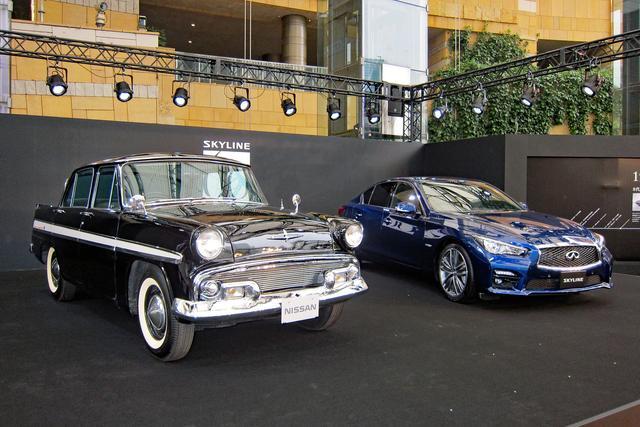 画像: センターステージは、初代スカイラインと13代目(現行型)の60周年記念モデル「350GT ハイブリッド タイプSP 60th リミテッド」。