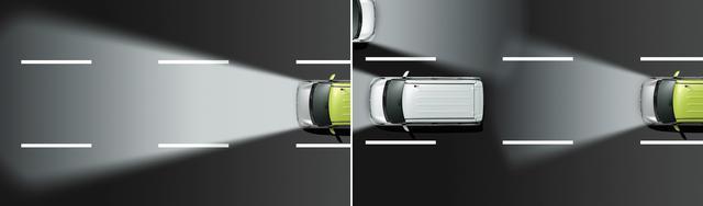 画像: デイズルークスのハイビームアシスト ハイ/ロー自動切り替えのヘッドランプは軽自動車にも採用されている。前方検知用のカメラで、先行車や対向車のライト、道路周辺の明るさを検知し、ハイビームとロービームを自動で切り替えている