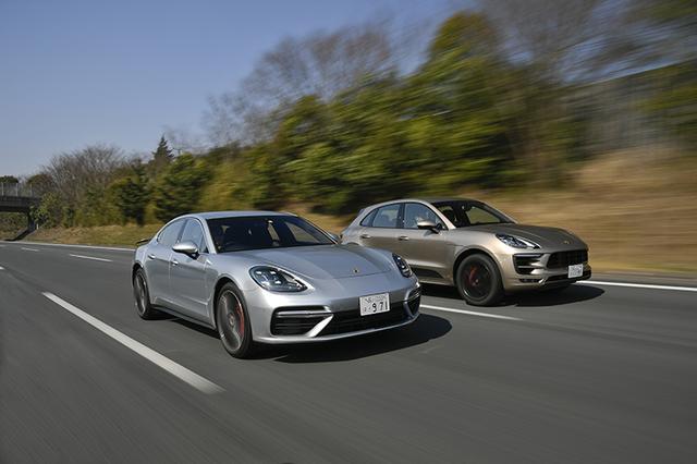 画像: 写真左:新型パナメーラ ターボ 最高出力:550ps 車両価格:23,270,000円。写真右:マカンGTS 最高出力:360ps 車両価格:9,390,000円。