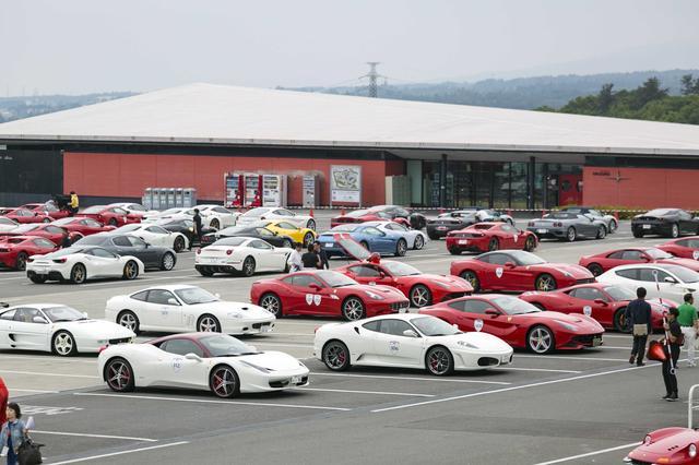 画像: 数多くのフェラーリが集まった富士スピードウェイ Aパドック駐車場。2016年の様子。