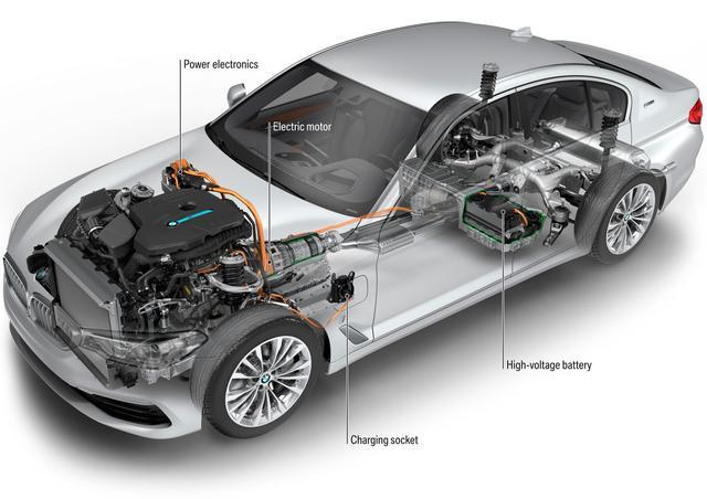 画像: BMW 530e iパフォーマンスのシステム図。電気モーターは8速ATに組み込まれ、バッテリーはリアシート下に格納されている。