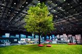 画像: アウディサミットの会場中央には大きな木と芝生が設営されていた。驚いたのはこの芝生、人工芝ではなく天然だということ。