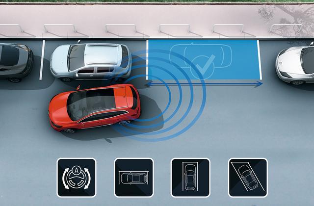 画像: 7 インチマルチファンクションタッチスクリーンの表示を見ながらアクセル、ブレーキ操作をするだけで、縦列駐車(出入りとも)、垂直方向、斜め方向のバックでの車庫入れを安心して行える。