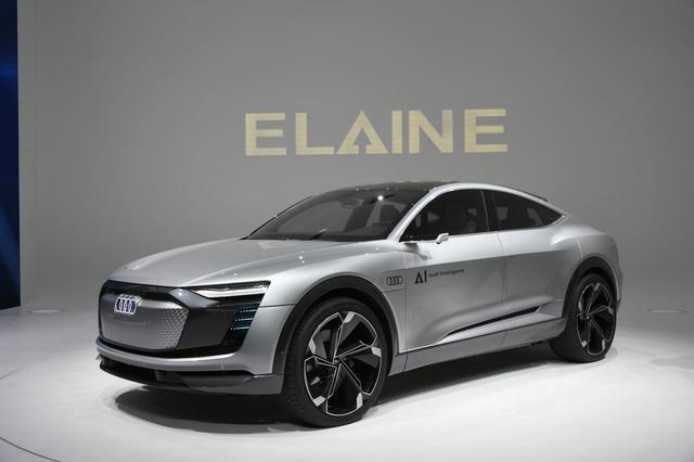 画像: AIという表現を「Audi Intelligence(アウディインテリジェンス)」とするアウディのコンセプトモデル「ELAINE(イレーヌ、と読むのでしょうか? )」。自動運転などの機能はもちろんのこと「スポーツバック」としての新しいデザインも提案されていますね。