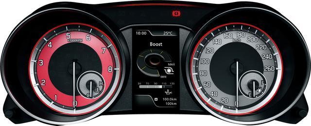 画像: メーターデザイン。左に8000rpmまで刻まれた回転計、右に260km/hスケールの速度計。
