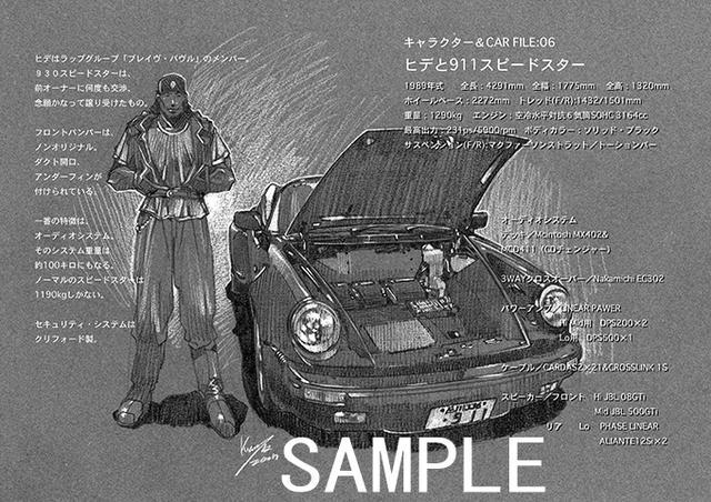 画像: ヒデの愛車は930スピードスター。これに総重量約100kgの本格カスタムオーディオを搭載しています(彼女のカレラFAN BOOK より。貴重なデッサンも多数掲載しています:ⓒSTUDIO TRON)