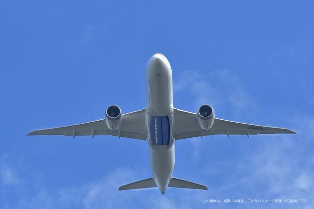 画像: 前後の胴体と左右の翼を繋ぐ部分が中央翼。青く塗られているのはイメージで、実際には外からはわからない。100枚以上ものCFRPを積み重ねて作られる。