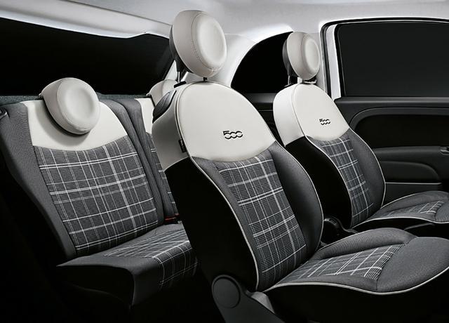 画像: 500クロマータのシートは上級グレード「ラウンジ」のグレンチェック柄となる。