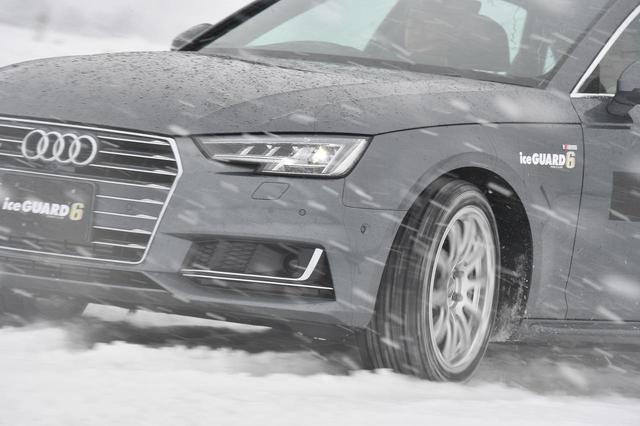 画像: 試走会初日の様子。圧雪路面が気温上昇で溶けて、シャーベット状になっているのがわかる。