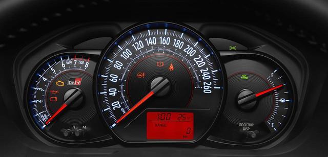 画像: メーター。速度計を中心に、左に回転計、右に燃料計。