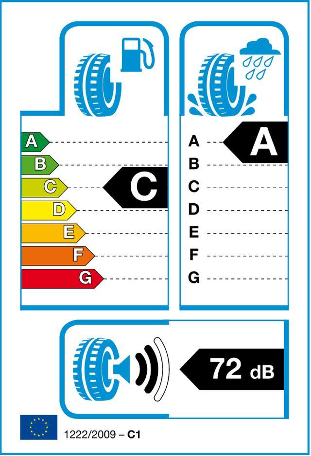 画像: こちらは欧州のラベリング表記。転がり抵抗とウエットグリップに加えて通過騒音もdB単位で表記される。日本と表記が異なる点に注意したい。