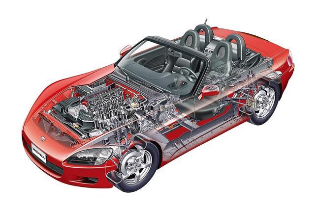 画像: S2000に採用されたハイXボーンフレームは独自開発。オープンボディを感じさせない高い剛性感が味わえた。