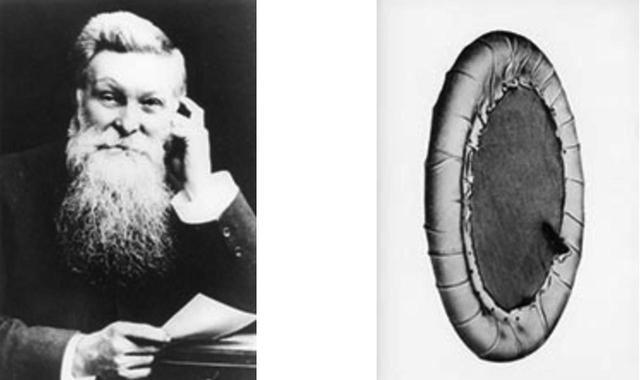 画像: 左はJ.B.ダンロップ氏。右はDUNLOPが実用化した世界初の空気入りタイヤ。