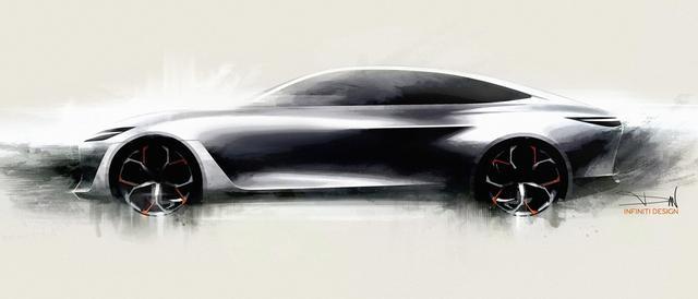 画像: デトロイトショーで発表されたコンセプトカー「Qインスピレーション」のデザインスケッチ。2021年以降に市場投入される新型EVは、このコンセプトカーと同じデザイン手法が採用されるという。