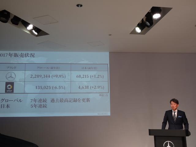 画像: 2017年の販売実績を発表するメルセデス・ベンツ日本の上野金太郎社長。