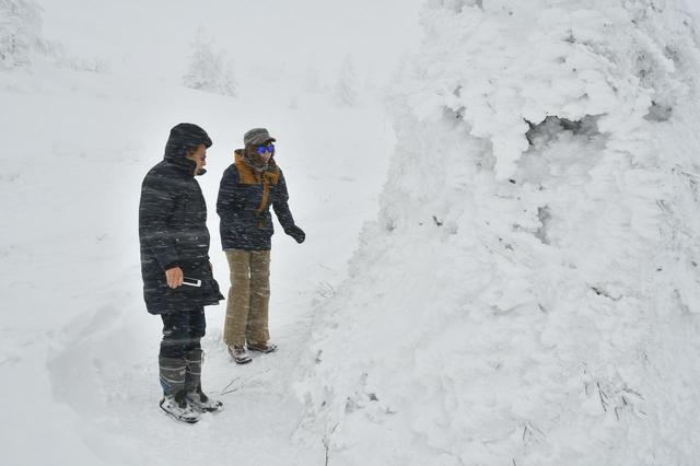画像: 樹氷原は標高1600m。積雪は3〜4m。気温はマイナス8℃だったが、風が強く体感ではもっと寒かった。