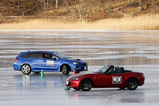 画像: ドライビングレッスンの最後にタイムアタックだけでなく、追走競技も用意された。4WDのスバル レヴォーグ相手では分が悪く惨敗!