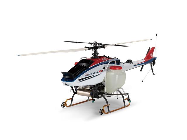 画像: 産業用無人ヘリコプター「FAZER R(フェーザー・アール)」。空から農業を作るという目的を果たすため操縦簡素化で散布精度を向上している。