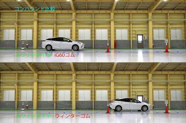 画像: 氷盤路での比較。スリックタイヤでもちゃんと止まる。