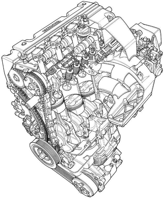 画像: K20A型エンジン 透視図