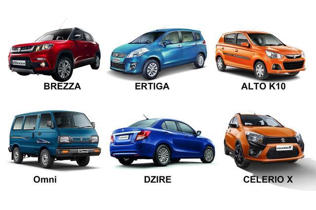 画像: インドでマルチ・スズキ社が販売しているモデルたち。この6モデルは日本で正規販売されていない。