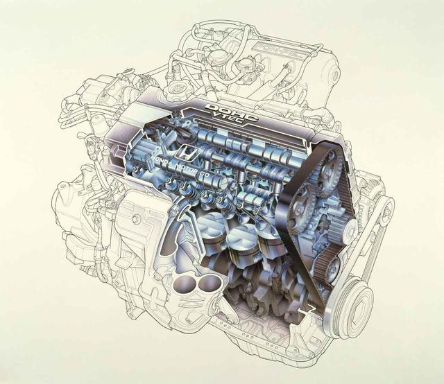 画像: 世界初の可変バルブタイミング・リフト機能を採用した新開発DOHC・VTECエンジン。