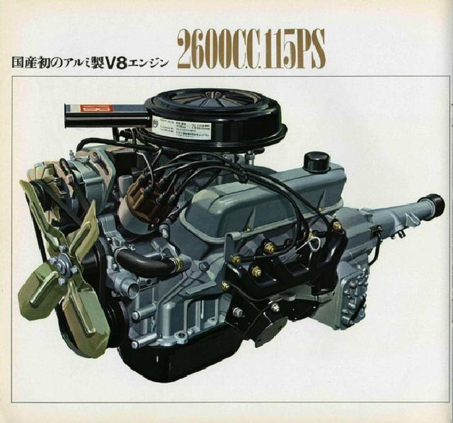 画像: 日本初のアルミ製V8エンジンを搭載。115ps/20.0kgmのスペックだった。圧縮比は9.0。