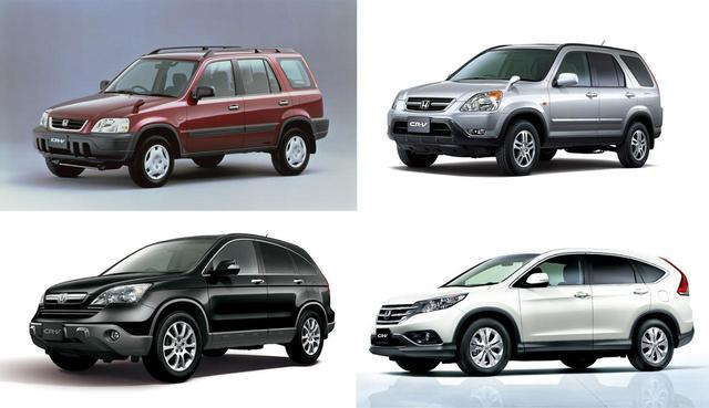 画像: 歴代CR-V。初代が左上、2代目が右上、3代目が左下、4代目が右下。