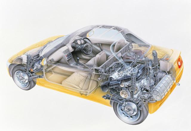 画像: ミッドシップレイアウト。タイヤは前後異径サイズで、4輪ディスクブレーキは軽自動車として初採用だった。