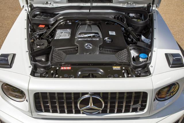 画像: G63のエンジンはG500と型式は異なる4LのV8ツインターボで、585ps/850Nmまでパワーアップされている。