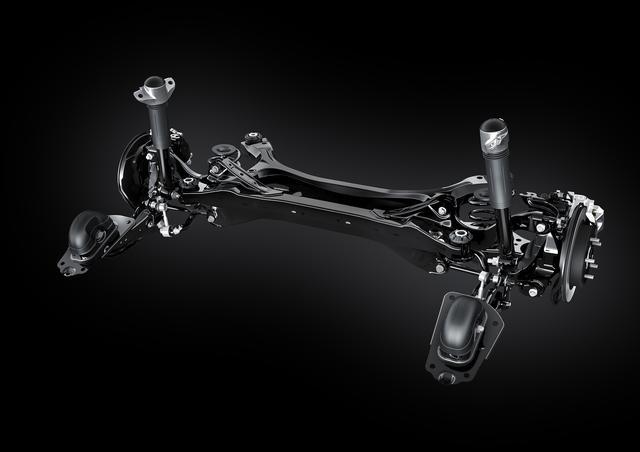 画像: 定評のある乗り心地をさらにフラッシュアップするべく、世界初のスイングバルブ式ダンパーを採用。リアサスペンションはダブルウイッシュボーン式となる。