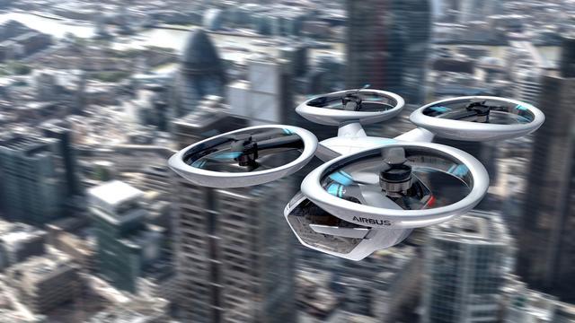 画像: エアバスが開発イメージする大型のドローン。下部にあるのはふたり乗りキャビン。