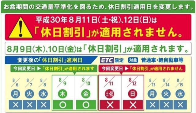 画像: お得情報2:休日割引を使うなら8月9日/10日の木金に移動