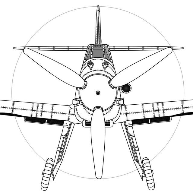 画像: メッサーシュミット Me109Fの正面図。ハの字型DBエンジンを覆う最低限の機体外殻に、その延長に翼と脚がある。最高速重視と生産合理性追及のドイツらしい設計。