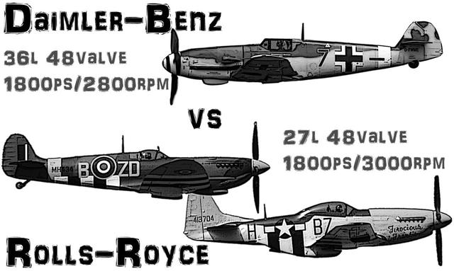 画像: 上からメッサーシュミット Me109、スーパーマリン・スピットファイア、そしてノースアメリカン P-51マスタング。