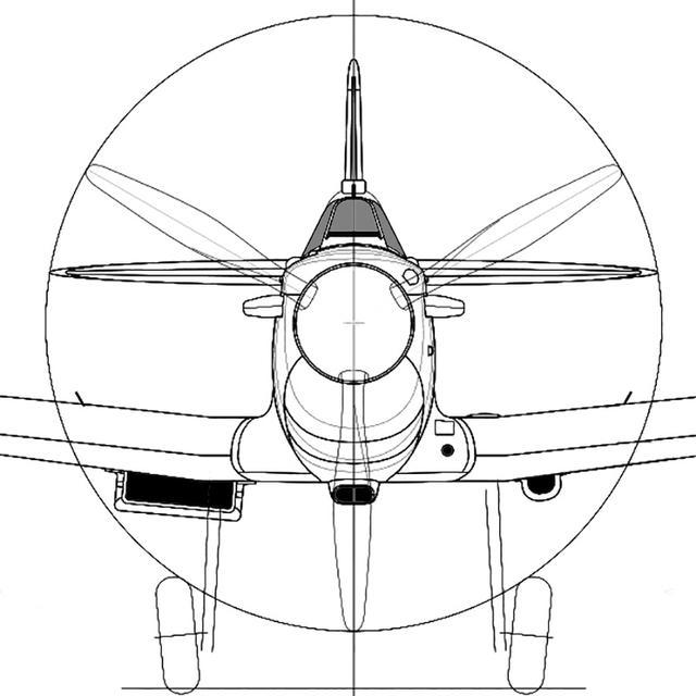 画像: スピットファイア MkIの正面図。マーリンV型エンジンを逆卵型のカバーで覆うデザイン。全体に丸みと余裕があり、P-51とともに大戦後まで基本は同じ。