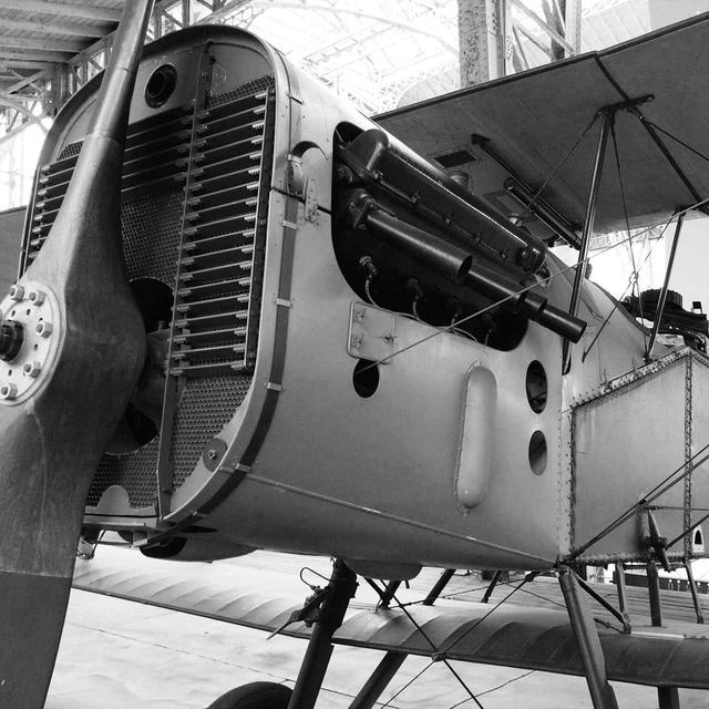 画像: 第1次大戦末期の水冷V型8気筒エンジン。ラジエターがあり、長いV型エンジンが機首を占めている。