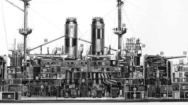 画像: 日露戦争(1904〜1905)における日本海軍の連合艦隊旗艦 三笠の艦内図。中央の石炭ボイラー(缶)で発生させた蒸気を、後部(左)の直立する3つのシリンダーに送りピストンを駆動させる。まだ「黒船」と大差ない蒸気機関の典型。タイタニック号(1912年竣工)も主機関は同形式。
