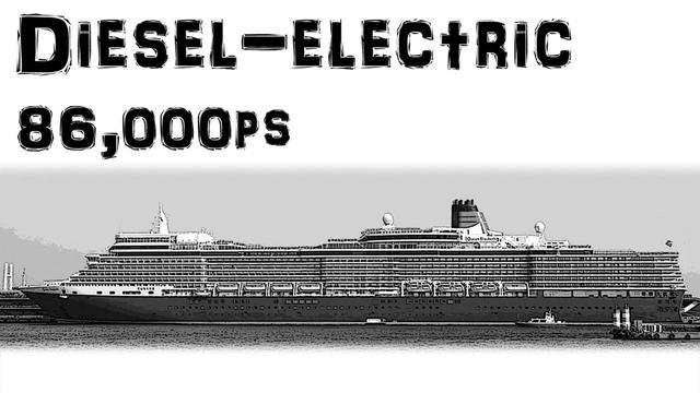 画像: 現代の超大型クルーズ船 クイーン・エリザベスIII(2010年竣工)。ディーゼル・エレクトリック方式なのでモーター駆動。近年の客船は高速である必要がなくなり、騒音振動と燃料消費を極力抑え、船内を広く使うためパワーユニットをコンパクトにマルチ化する方式を採用している。