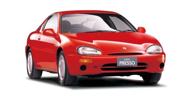 画像: マツダが投入した小排気量マルチシリンダーモデルのひとつ、ユーノス プレッソ。4気筒モデルもあった。