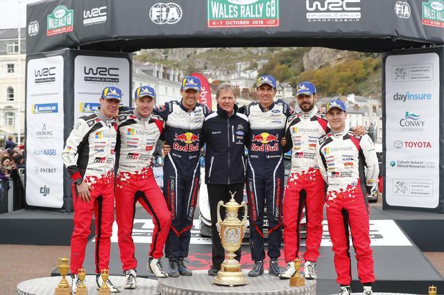 画像: WRC第11戦ラリーGBの表彰台。優勝はセバスチャン・オジエ(フォード・フィエスタWRC)。