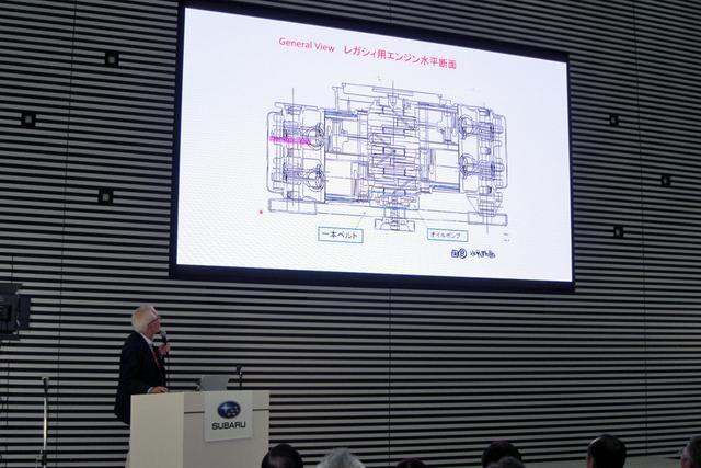 画像: レガシィ用新水平対向エンジンの解説をする工藤氏。