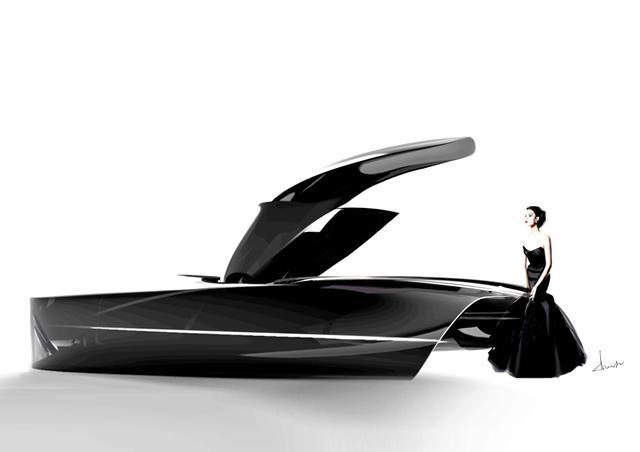 画像: スマートシティのために作られた運転手のいないクルマでは優雅さや英国的な礼儀正しさが重要となるというエヌジ・チョイ氏の作品。