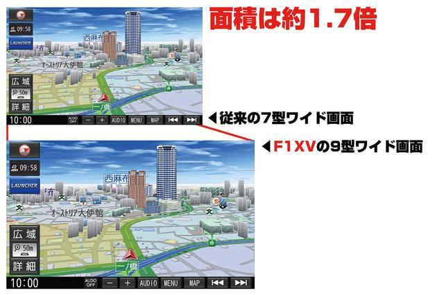 画像: ストラーダ F1XVの画面は9型ワイド。7型ワイドの従来モデルと比較すると、画面サイズの差は歴然。この大きさは、ナビ画面での使い勝手で実感できるはずだ。